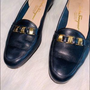 Salvatore Ferragamo Black Leather Loafer